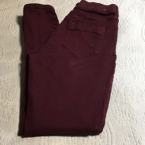 Sale 5/$25 Pull on jeans deep red stretchy Jeans.
